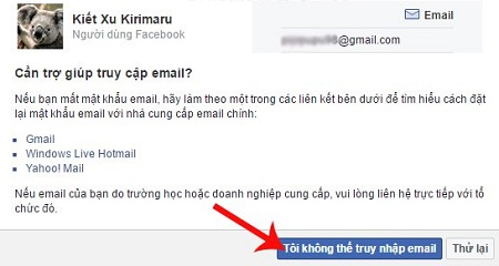 Nhấn vào mục Tôi không thể truy cập email ở ngay bên dưới